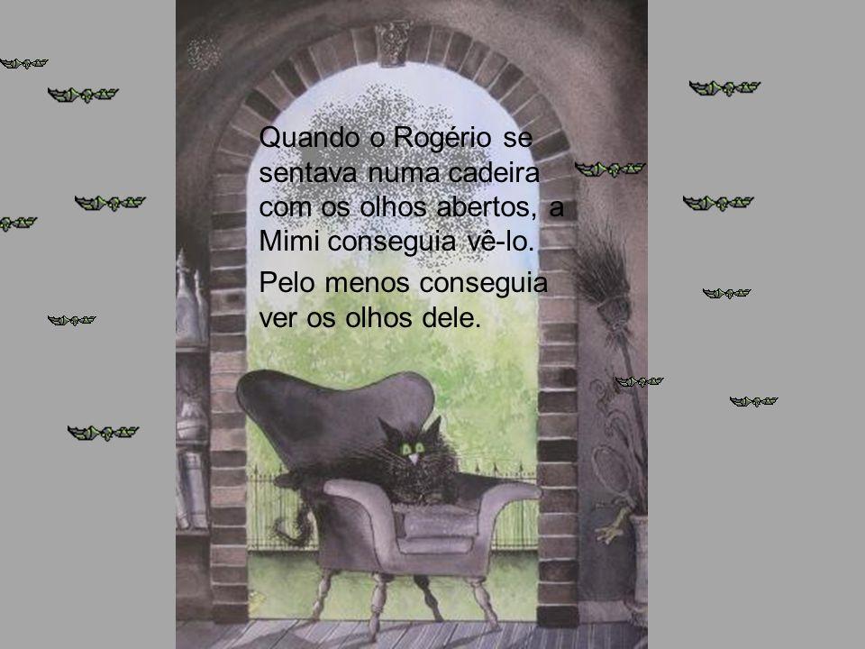 Quando o Rogério se sentava numa cadeira com os olhos abertos, a Mimi conseguia vê-lo. Pelo menos conseguia ver os olhos dele.