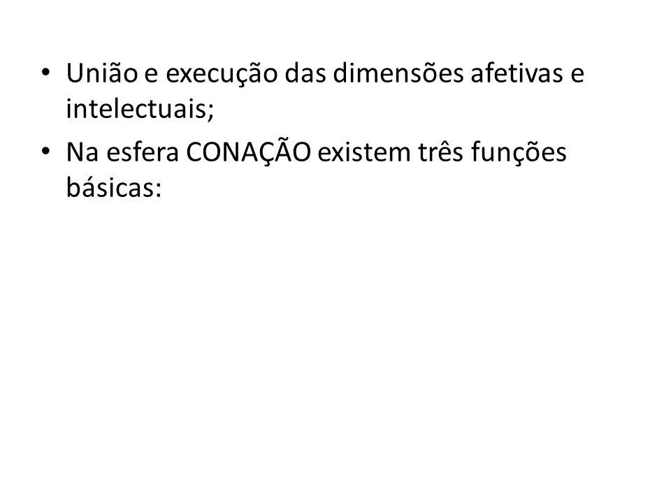 União e execução das dimensões afetivas e intelectuais; Na esfera CONAÇÃO existem três funções básicas: