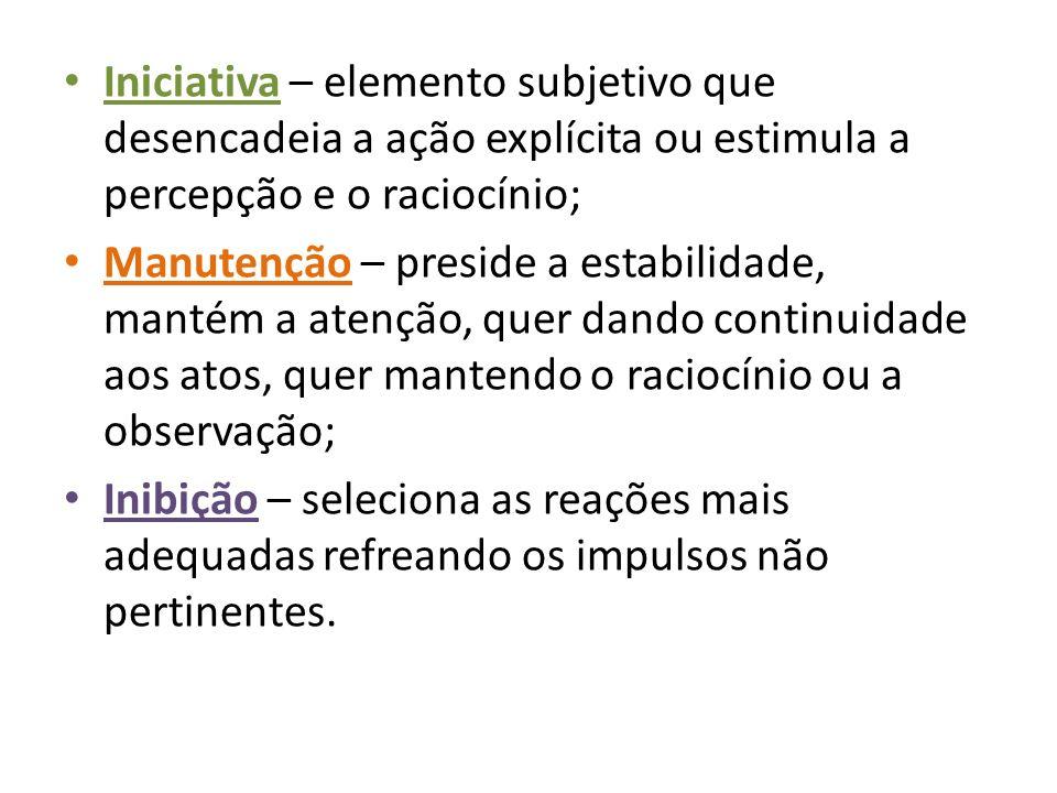 Iniciativa – elemento subjetivo que desencadeia a ação explícita ou estimula a percepção e o raciocínio; Manutenção – preside a estabilidade, mantém a