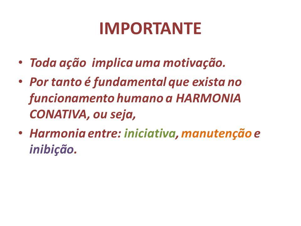 IMPORTANTE Toda ação implica uma motivação. Por tanto é fundamental que exista no funcionamento humano a HARMONIA CONATIVA, ou seja, Harmonia entre: i
