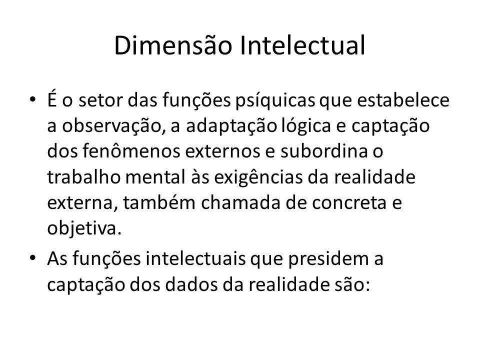 Dimensão Intelectual É o setor das funções psíquicas que estabelece a observação, a adaptação lógica e captação dos fenômenos externos e subordina o t