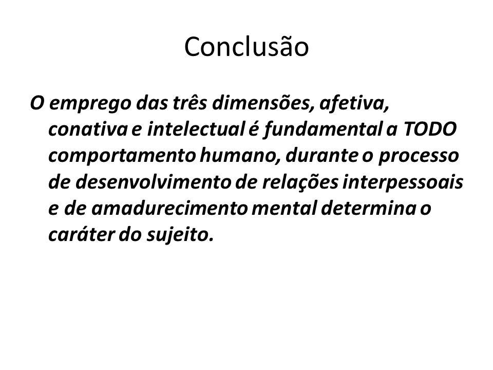 Conclusão O emprego das três dimensões, afetiva, conativa e intelectual é fundamental a TODO comportamento humano, durante o processo de desenvolvimen