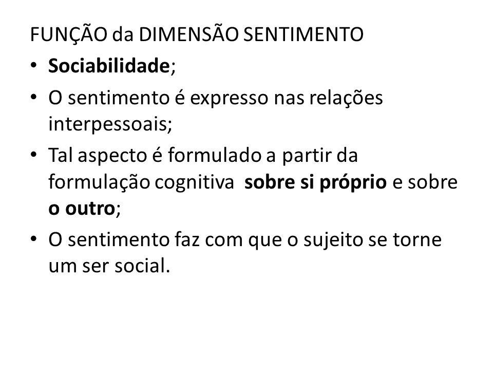 FUNÇÃO da DIMENSÃO SENTIMENTO Sociabilidade; O sentimento é expresso nas relações interpessoais; Tal aspecto é formulado a partir da formulação cognit