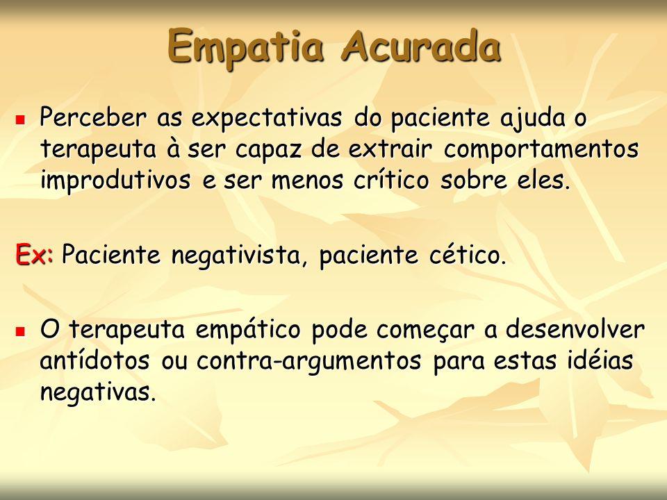 Empatia Acurada Perceber as expectativas do paciente ajuda o terapeuta à ser capaz de extrair comportamentos improdutivos e ser menos crítico sobre el