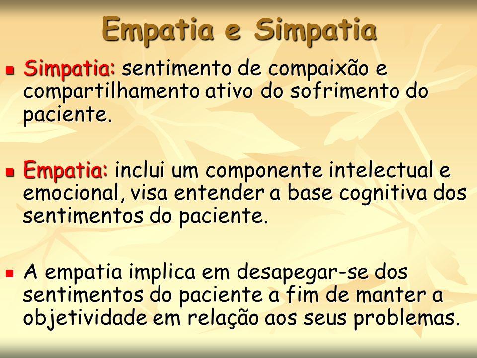 Empatia e Simpatia Simpatia: sentimento de compaixão e compartilhamento ativo do sofrimento do paciente. Simpatia: sentimento de compaixão e compartil