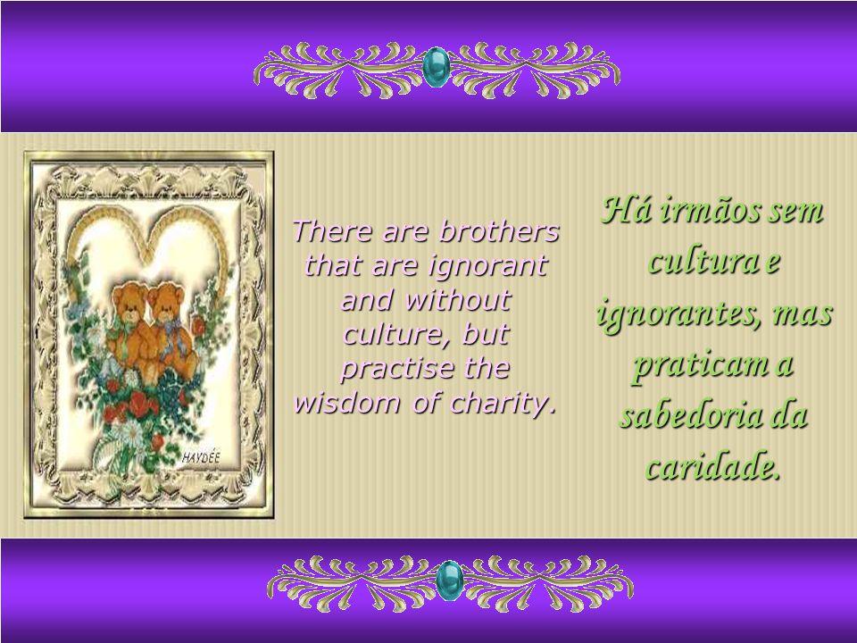 Há irmãos sem cultura e ignorantes, mas praticam a sabedoria da caridade.