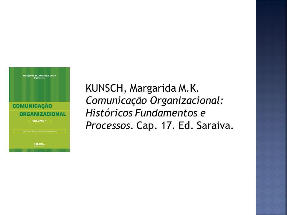 KUNSCH, Margarida M.K. Comunicação Organizacional: Históricos Fundamentos e Processos. Cap. 17. Ed. Saraiva.