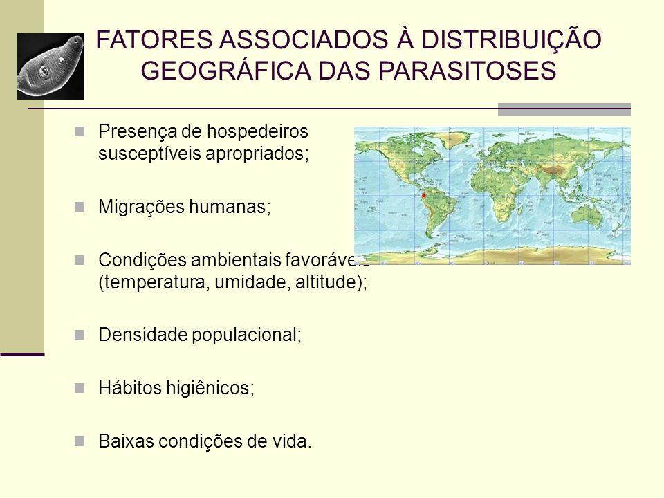FATORES ASSOCIADOS À DISTRIBUIÇÃO GEOGRÁFICA DAS PARASITOSES Presença de hospedeiros susceptíveis apropriados; Migrações humanas; Condições ambientais