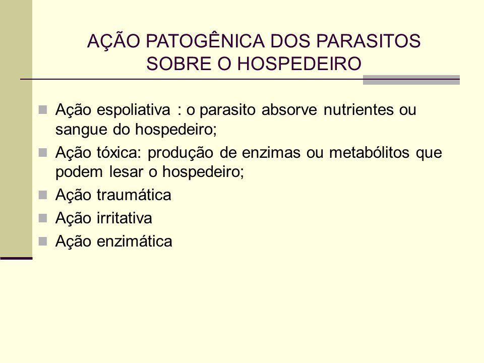 AÇÃO PATOGÊNICA DOS PARASITOS SOBRE O HOSPEDEIRO Ação espoliativa : o parasito absorve nutrientes ou sangue do hospedeiro; Ação tóxica: produção de en