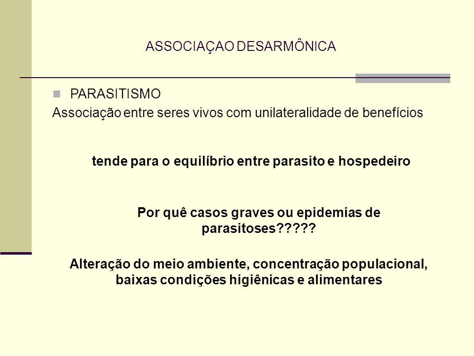 ASSOCIAÇAO DESARMÔNICA PARASITISMO Associação entre seres vivos com unilateralidade de benefícios tende para o equilíbrio entre parasito e hospedeiro