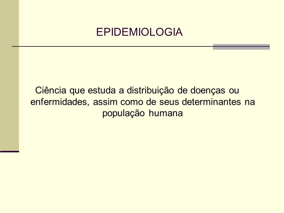 EPIDEMIOLOGIA Ciência que estuda a distribuição de doenças ou enfermidades, assim como de seus determinantes na população humana