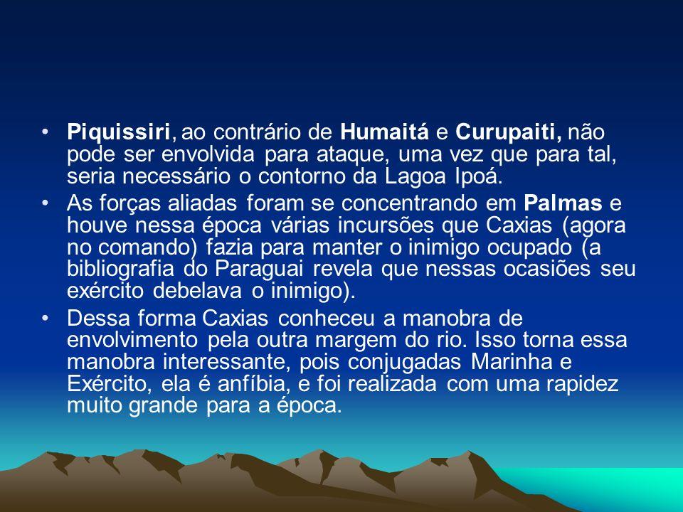 Piquissiri, ao contrário de Humaitá e Curupaiti, não pode ser envolvida para ataque, uma vez que para tal, seria necessário o contorno da Lagoa Ipoá.
