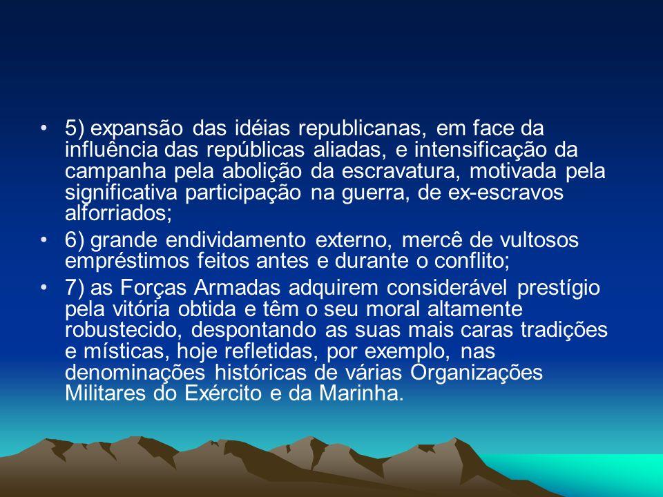 5) expansão das idéias republicanas, em face da influência das repúblicas aliadas, e intensificação da campanha pela abolição da escravatura, motivada