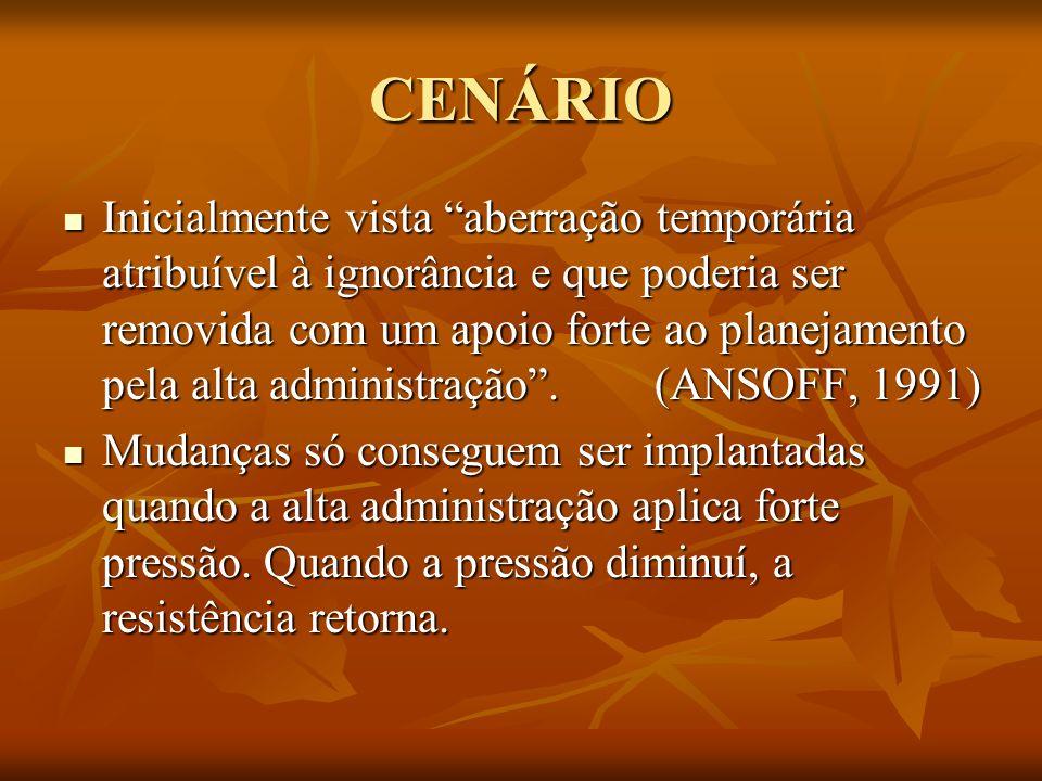CENÁRIO Inicialmente vista aberração temporária atribuível à ignorância e que poderia ser removida com um apoio forte ao planejamento pela alta admini