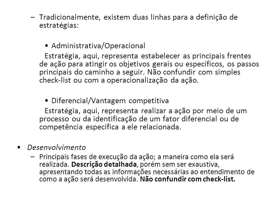 –Tradicionalmente, existem duas linhas para a definição de estratégias: Administrativa/Operacional Estratégia, aqui, representa estabelecer as princip