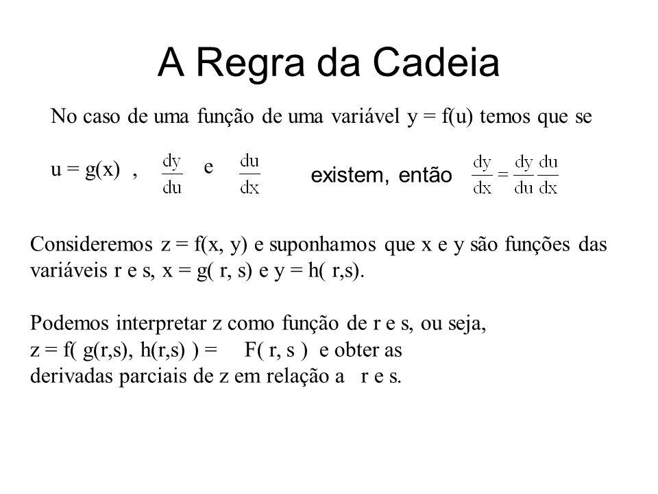 A Regra da Cadeia No caso de uma função de uma variável y = f(u) temos que se u = g(x), e existem, então Consideremos z = f(x, y) e suponhamos que x e