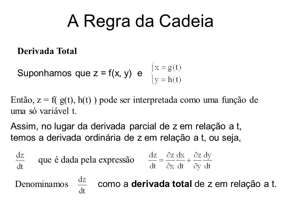 A Regra da Cadeia Interpretação Física: Se considerarmos uma curva C, cujas equações paramétricas são dadas por C = e se z = f( g(t), h(t) ) = F(t), então, a derivada total de z,, corresponde à taxa de variação de z, ao longo da curva C.