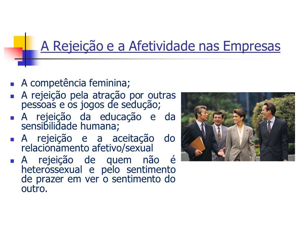 A Rejeição e a Afetividade nas Empresas A competência feminina; A rejeição pela atração por outras pessoas e os jogos de sedução; A rejeição da educaç