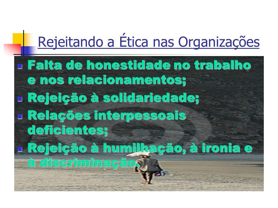 Rejeitando a Ética nas Organizações Falta de honestidade no trabalho e nos relacionamentos; Falta de honestidade no trabalho e nos relacionamentos; Re