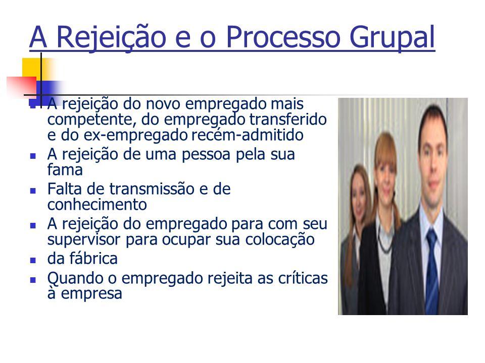 A Rejeição e o Processo Grupal A rejeição do novo empregado mais competente, do empregado transferido e do ex-empregado recém-admitido A rejeição de u