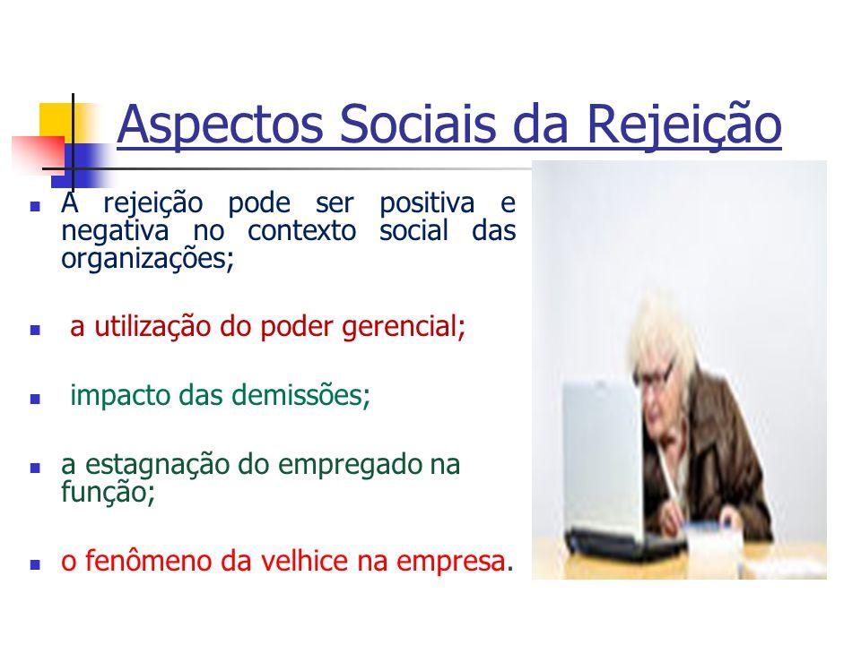 Aspectos Sociais da Rejeição A rejeição pode ser positiva e negativa no contexto social das organizações; a utilização do poder gerencial; impacto das