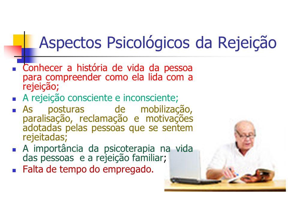 Aspectos Psicológicos da Rejeição Conhecer a história de vida da pessoa para compreender como ela lida com a rejeição; A rejeição consciente e inconsc