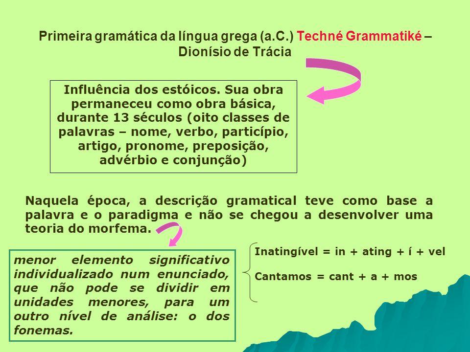 Primeira gramática da língua grega (a.C.) Techné Grammatiké – Dionísio de Trácia Influência dos estóicos. Sua obra permaneceu como obra básica, durant