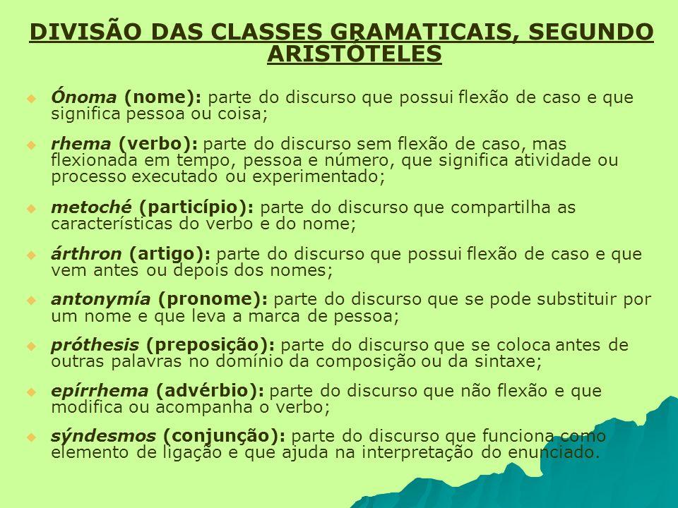 DIVISÃO DAS CLASSES GRAMATICAIS, SEGUNDO ARISTÓTELES Ónoma (nome): parte do discurso que possui flexão de caso e que significa pessoa ou coisa; rhema