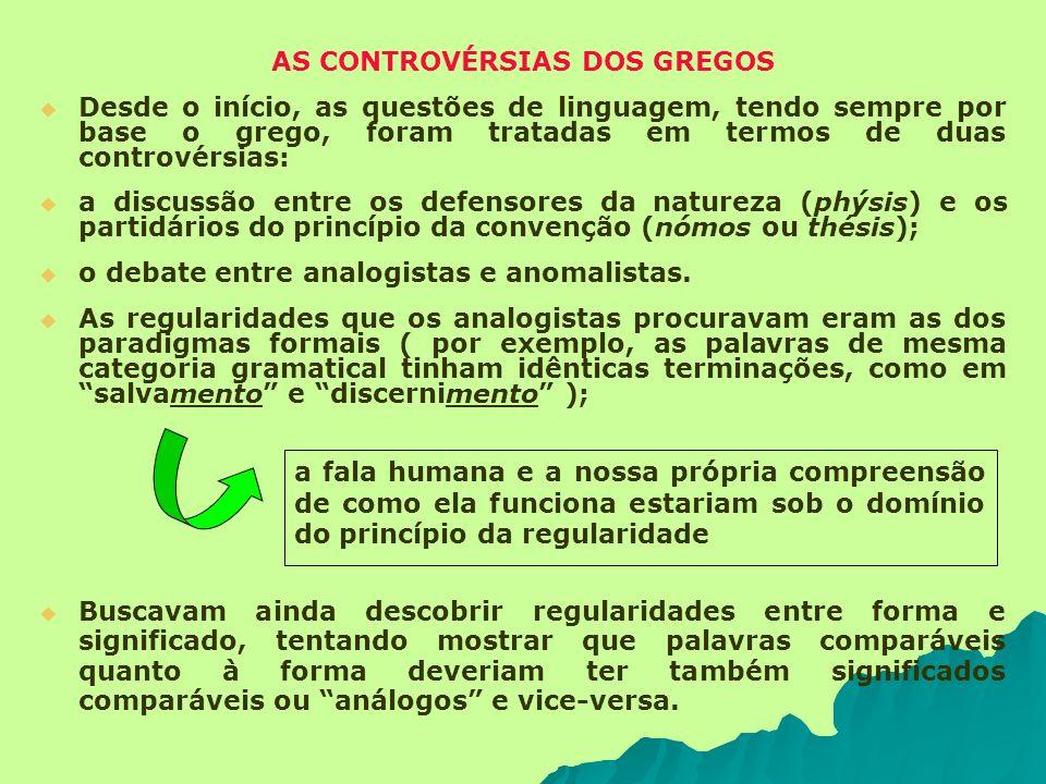 AS CONTROVÉRSIAS DOS GREGOS Desde o início, as questões de linguagem, tendo sempre por base o grego, foram tratadas em termos de duas controvérsias: a