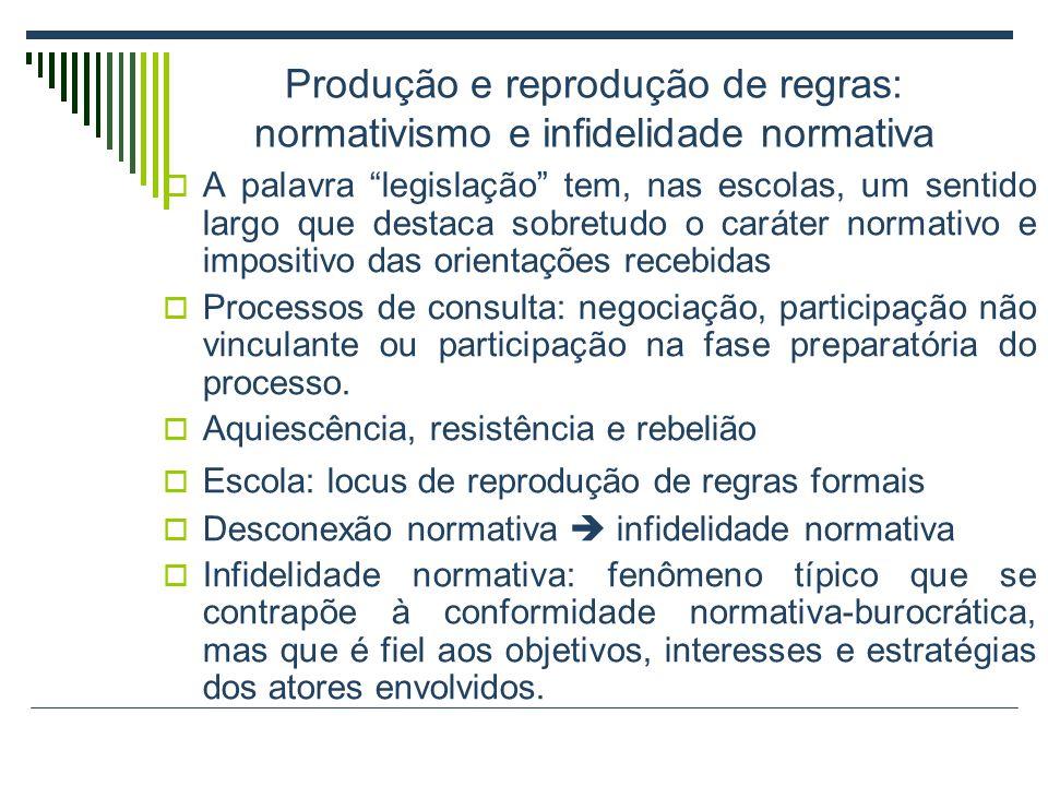 Produção e reprodução de regras: normativismo e infidelidade normativa A palavra legislação tem, nas escolas, um sentido largo que destaca sobretudo o