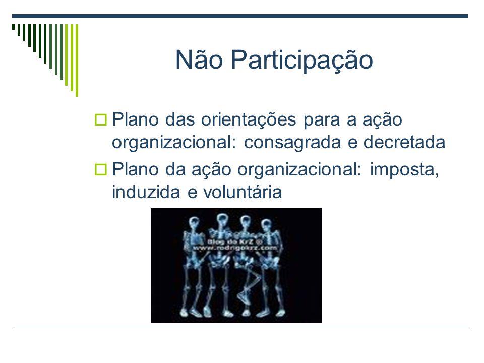 Não Participação Plano das orientações para a ação organizacional: consagrada e decretada Plano da ação organizacional: imposta, induzida e voluntária
