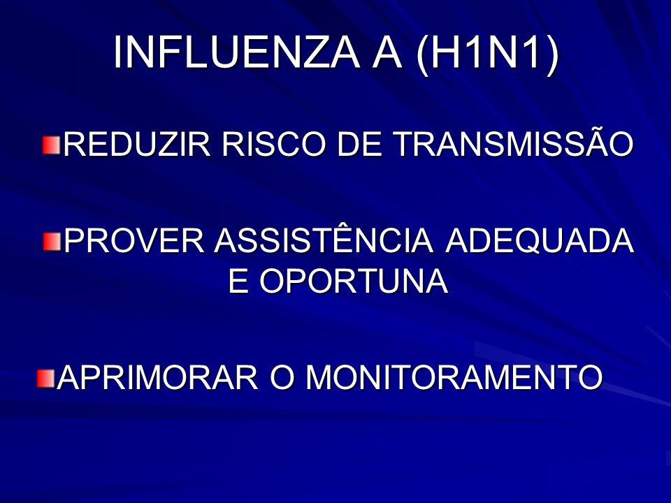 INFLUENZA A (H1N1) REDUZIR RISCO DE TRANSMISSÃO PROVER ASSISTÊNCIA ADEQUADA E OPORTUNA APRIMORAR O MONITORAMENTO