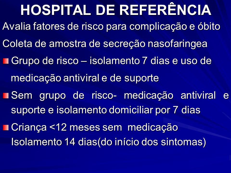 HOSPITAL DE REFERÊNCIA Avalia fatores de risco para complicação e óbito Coleta de amostra de secreção nasofaringea Grupo de risco – isolamento 7 dias