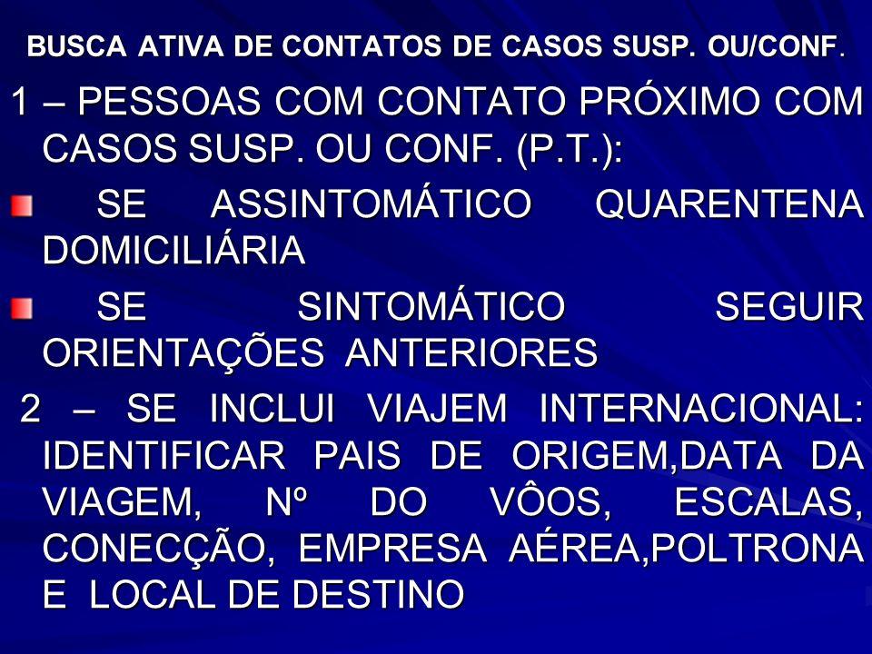 BUSCA ATIVA DE CONTATOS DE CASOS SUSP. OU/CONF. 1 – PESSOAS COM CONTATO PRÓXIMO COM CASOS SUSP. OU CONF. (P.T.): SE ASSINTOMÁTICO QUARENTENA DOMICILIÁ