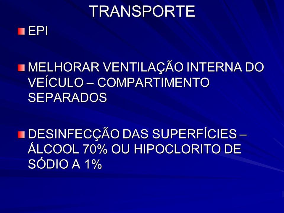 TRANSPORTEEPI MELHORAR VENTILAÇÃO INTERNA DO VEÍCULO – COMPARTIMENTO SEPARADOS DESINFECÇÃO DAS SUPERFÍCIES – ÁLCOOL 70% OU HIPOCLORITO DE SÓDIO A 1%