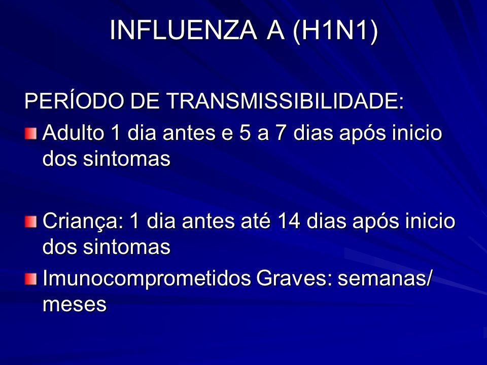 INFLUENZA A (H1N1) PERÍODO DE TRANSMISSIBILIDADE: Adulto 1 dia antes e 5 a 7 dias após inicio dos sintomas Criança: 1 dia antes até 14 dias após inici