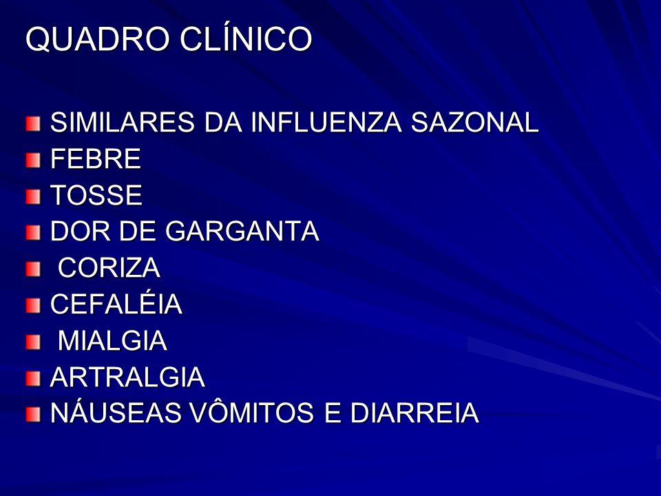 QUADRO CLÍNICO SIMILARES DA INFLUENZA SAZONAL FEBRETOSSE DOR DE GARGANTA CORIZA CORIZACEFALÉIA MIALGIA MIALGIAARTRALGIA NÁUSEAS VÔMITOS E DIARREIA