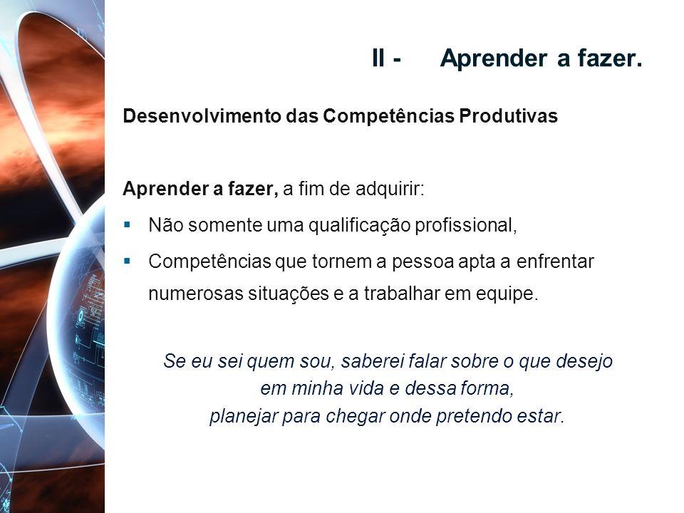 II - Aprender a fazer. Desenvolvimento das Competências Produtivas Aprender a fazer, a fim de adquirir: Não somente uma qualificação profissional, Com