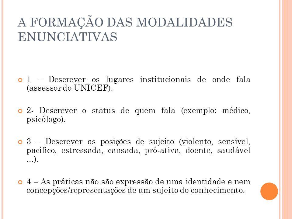 A FORMAÇÃO DAS MODALIDADES ENUNCIATIVAS 1 – Descrever os lugares institucionais de onde fala (assessor do UNICEF). 2- Descrever o status de quem fala
