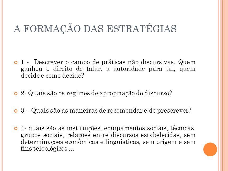 A FORMAÇÃO DAS ESTRATÉGIAS 1 - Descrever o campo de práticas não discursivas. Quem ganhou o direito de falar, a autoridade para tal, quem decide e com