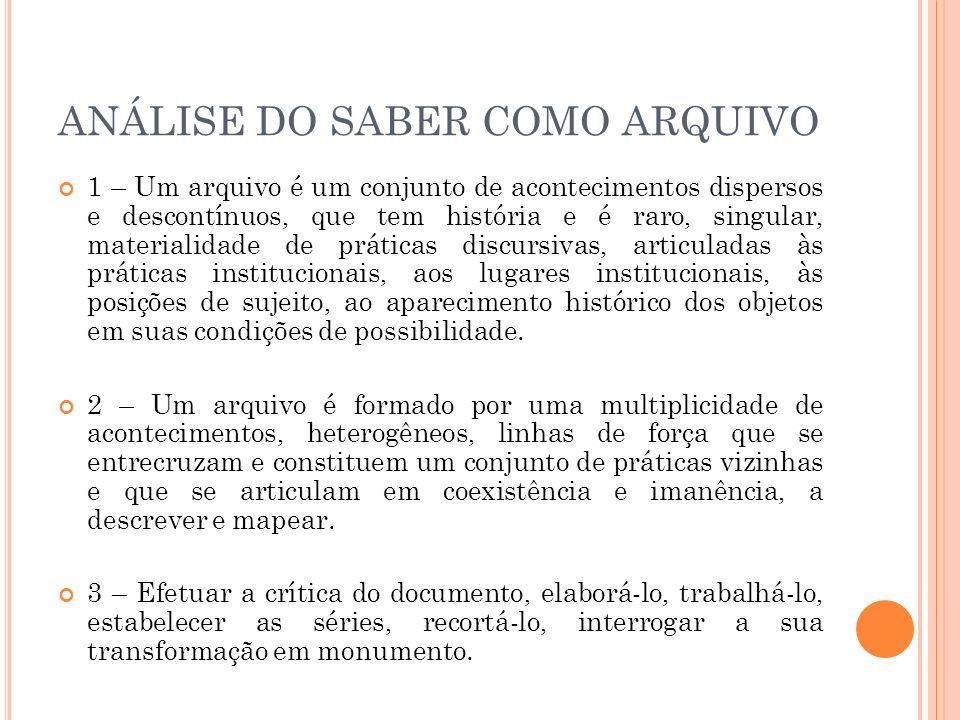DEFINIR O ENUNCIADO 1- Crítica ao sujeito unitária, à obra e ao autor, à influência, ao sujeito psicológico falante.