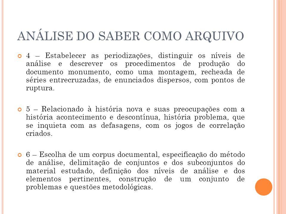 ANÁLISE DO SABER COMO ARQUIVO 6 – Sair da análise de semelhança e do campo de identidades, portanto, história descontínua, ou seja, sem função fundadora de sujeito.