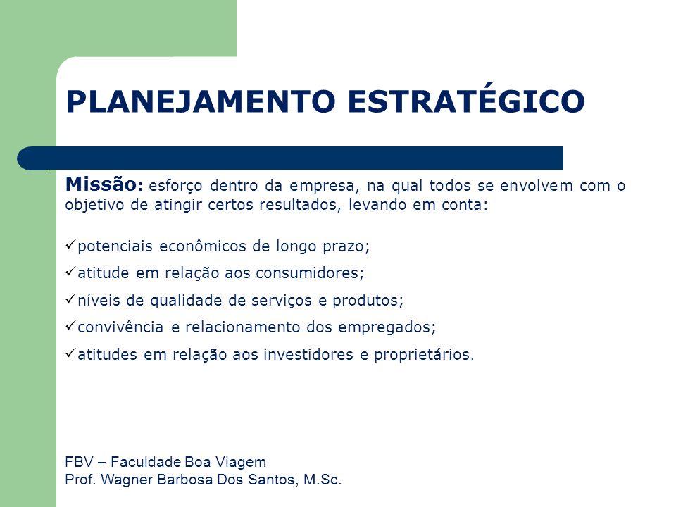 FBV – Faculdade Boa Viagem Prof. Wagner Barbosa Dos Santos, M.Sc. Missão : esforço dentro da empresa, na qual todos se envolvem com o objetivo de atin
