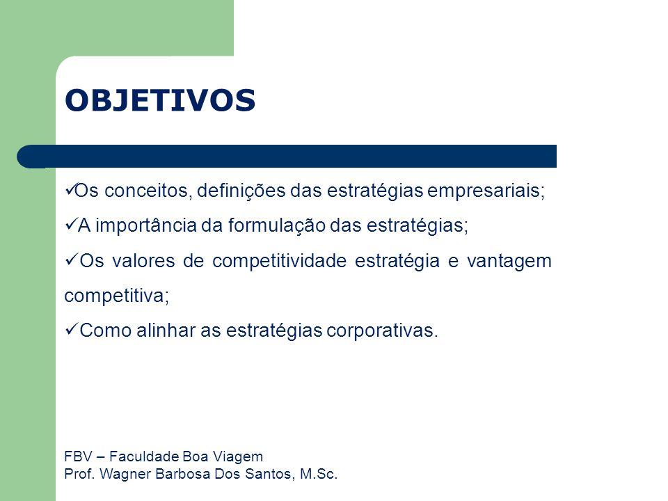 FBV – Faculdade Boa Viagem Prof. Wagner Barbosa Dos Santos, M.Sc. OBJETIVOS Os conceitos, definições das estratégias empresariais; A importância da fo