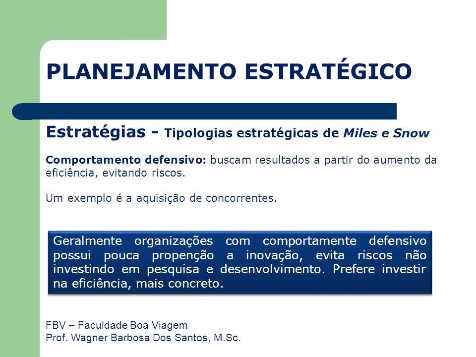 FBV – Faculdade Boa Viagem Prof. Wagner Barbosa Dos Santos, M.Sc. Estratégias - Tipologias estratégicas de Miles e Snow Comportamento defensivo: busca
