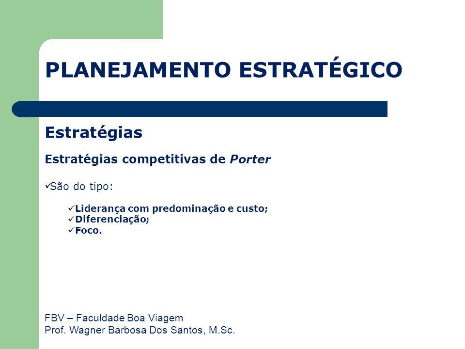 FBV – Faculdade Boa Viagem Prof. Wagner Barbosa Dos Santos, M.Sc. Estratégias Estratégias competitivas de Porter São do tipo: Liderança com predominaç