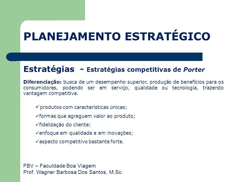 FBV – Faculdade Boa Viagem Prof. Wagner Barbosa Dos Santos, M.Sc. Estratégias - Estratégias competitivas de Porter Diferenciação: busca de um desempen