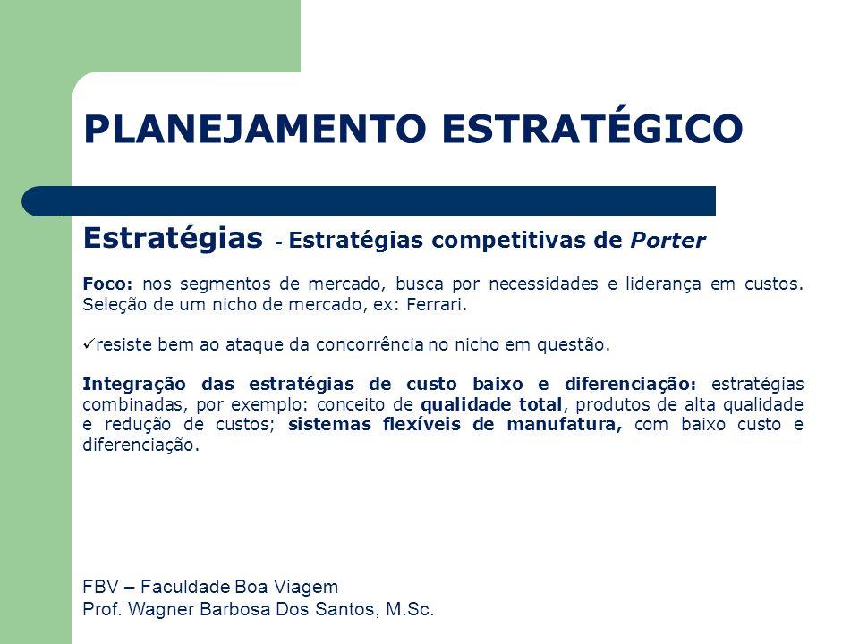 FBV – Faculdade Boa Viagem Prof. Wagner Barbosa Dos Santos, M.Sc. Estratégias - Estratégias competitivas de Porter Foco: nos segmentos de mercado, bus