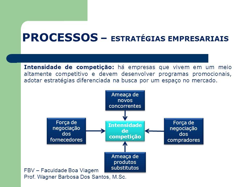 FBV – Faculdade Boa Viagem Prof. Wagner Barbosa Dos Santos, M.Sc. Intensidade de competição: há empresas que vivem em um meio altamente competitivo e