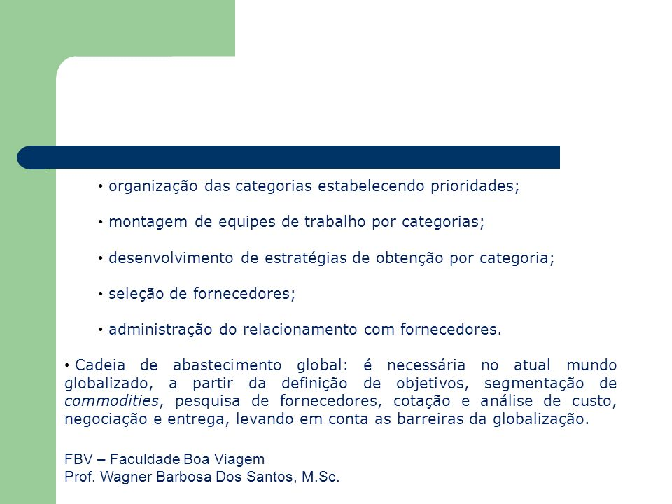 FBV – Faculdade Boa Viagem Prof. Wagner Barbosa Dos Santos, M.Sc. organização das categorias estabelecendo prioridades; montagem de equipes de trabalh